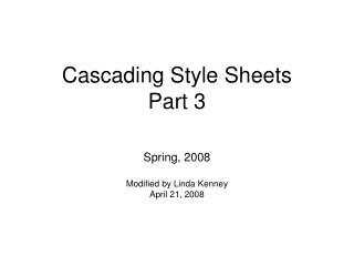 Cascading Style Sheets Part 3