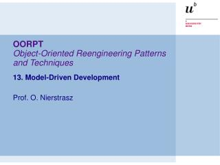 OORPT Object-Oriented Reengineering Patterns and Techniques