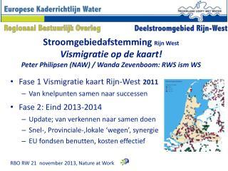 Fase 1 Vismigratie kaart Rijn-West 2011 Van knelpunten samen naar successen Fase 2: Eind 2013-2014