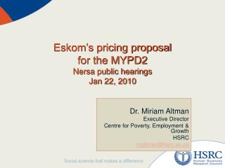 Eskom's pricing proposal for the MYPD2 Nersa public hearings Jan 22, 2010