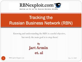 Tracking the  Russian Business Network (RBN)