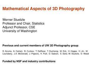 Mathematical Aspects of 3D Photography