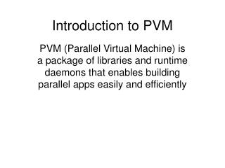 Introduction to PVM