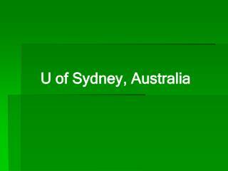 U of Sydney, Australia