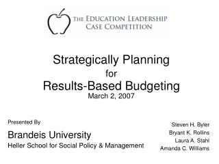 Presented By Brandeis University Heller School for Social Policy & Management