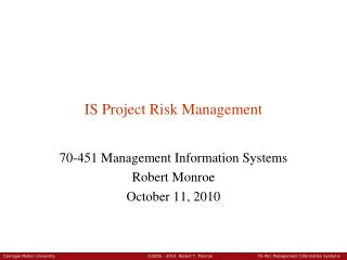 IS Project Risk Management