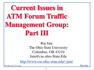 Current Issues in ATM Forum Traffic Management Group: Part III