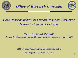 Core Responsibilities for Human Research Protection Research Compliance Officers
