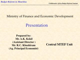 Ministry of Finance and Economic Development