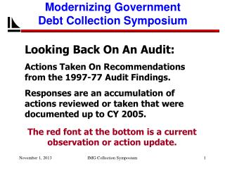 Looking Back On An Audit: Actions Taken On Recommendations from the 1997-77 Audit Findings.