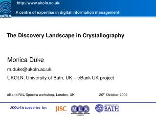 The Discovery Landscape in Crystallography
