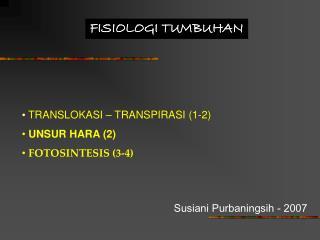 FISIOLOGI TUMBUHAN