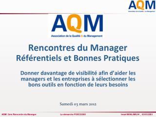 Rencontres du Manager Référentiels et Bonnes Pratiques