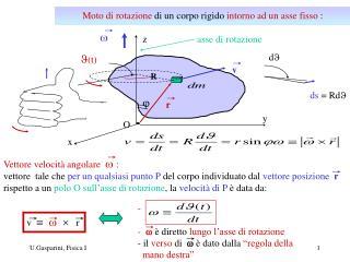 Moto di rotazione  di un corpo rigido  intorno ad un asse fisso  :