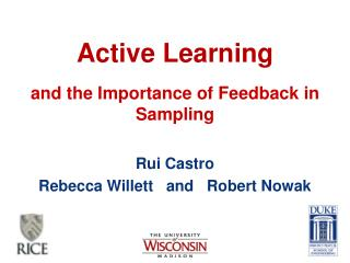 Active Learning and the Importance of Feedback in Sampling