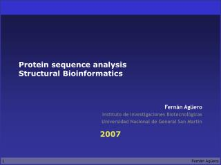 Protein sequence analysis Structural Bioinformatics