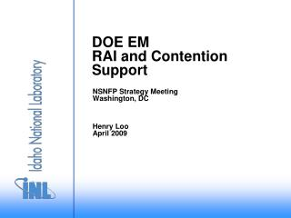 DOE EM RAI and Contention Support