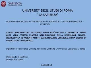 """UNIVERSITA' DEGLI STUDI DI ROMA  """" LA SAPIENZA"""""""