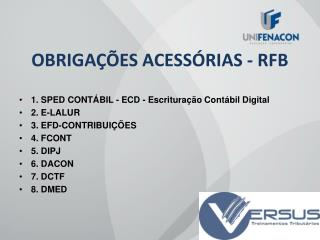 OBRIGA��ES ACESS�RIAS - RFB
