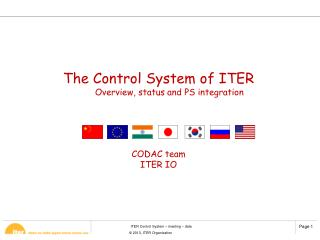 The Control System of ITER  Overview, status and PS integration CODAC team ITER IO