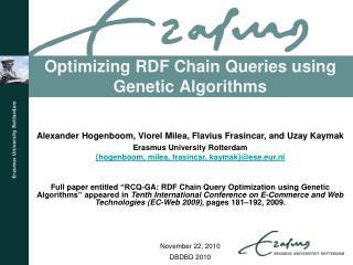 Optimizing RDF Chain Queries using Genetic Algorithms