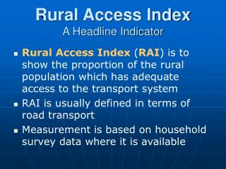 Rural Access Index A Headline Indicator