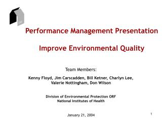 Performance Management Presentation Improve Environmental Quality