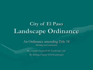 City of El Paso Landscape Ordinance