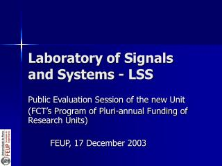 Laboratory of Signals and Systems - LSS