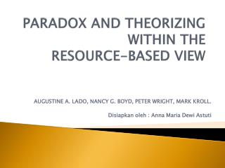 PARADOX AND THEORIZING WITHIN THE RESOURCE-BASED VIEW