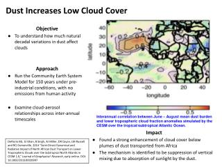 Objective To understand how much natural decadal variations in dust affect clouds Approach