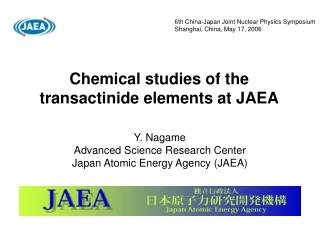 Chemical studies of the transactinide elements at JAEA