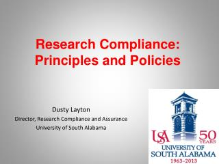Research Compliance: Principles and Policies