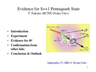 Evidence for S=+1 Pentaquark State T. Nakano (RCNP, Osaka Univ)