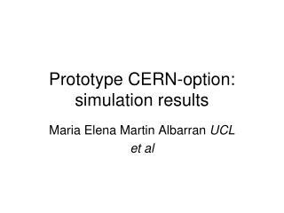 Prototype CERN-option: simulation results