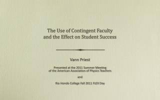 The Use of Contingent Faculty and the Effect on Student Success