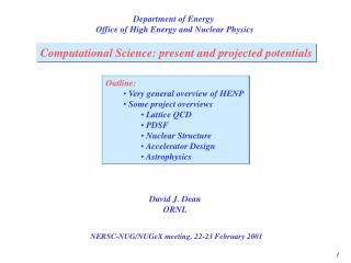 Department of Energy  Office of High Energy and Nuclear Physics