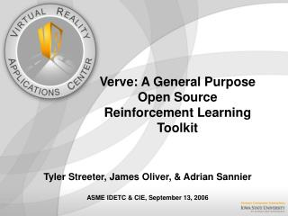 Verve: A General Purpose Open Source Reinforcement Learning Toolkit