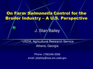 On Farm Salmonella Control for the Broiler Industry   A U.S. Perspective