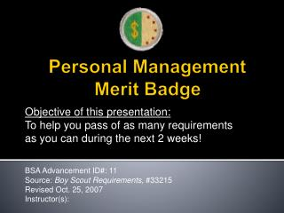 Personal Management Merit Badge