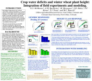 Crop water deficits and winter wheat plant height: Integration of field experiments and modeling.