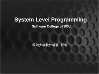 System Level Programming Software College of SCU