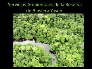 Servicios Ambientales de la Reserva de Biosfera  Yasun �