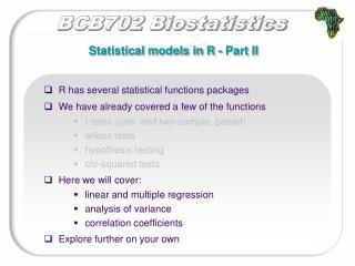 Statistical models in R - Part II