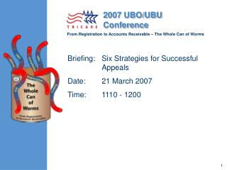 Briefing: Six Strategies for Successful Appeals  Date: 21 March 2007 Time: 1110 - 1200