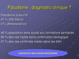 Paludisme : diagnostic clinique ?