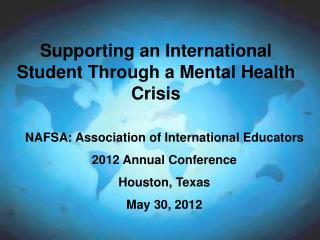 Supporting an International Student Through a Mental Health Crisis