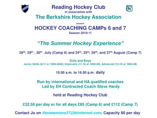 Reading Hockey Club in association with The Berkshire Hockey Association