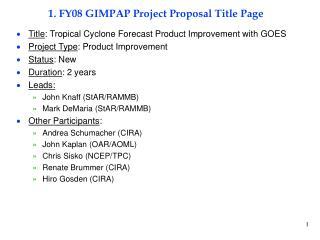 1. FY08 GIMPAP Project Proposal Title Page