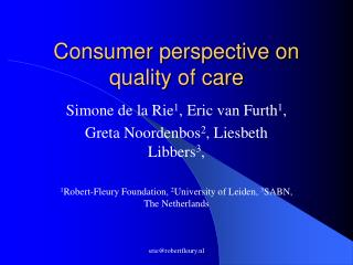 Consumer perspective on quality of care